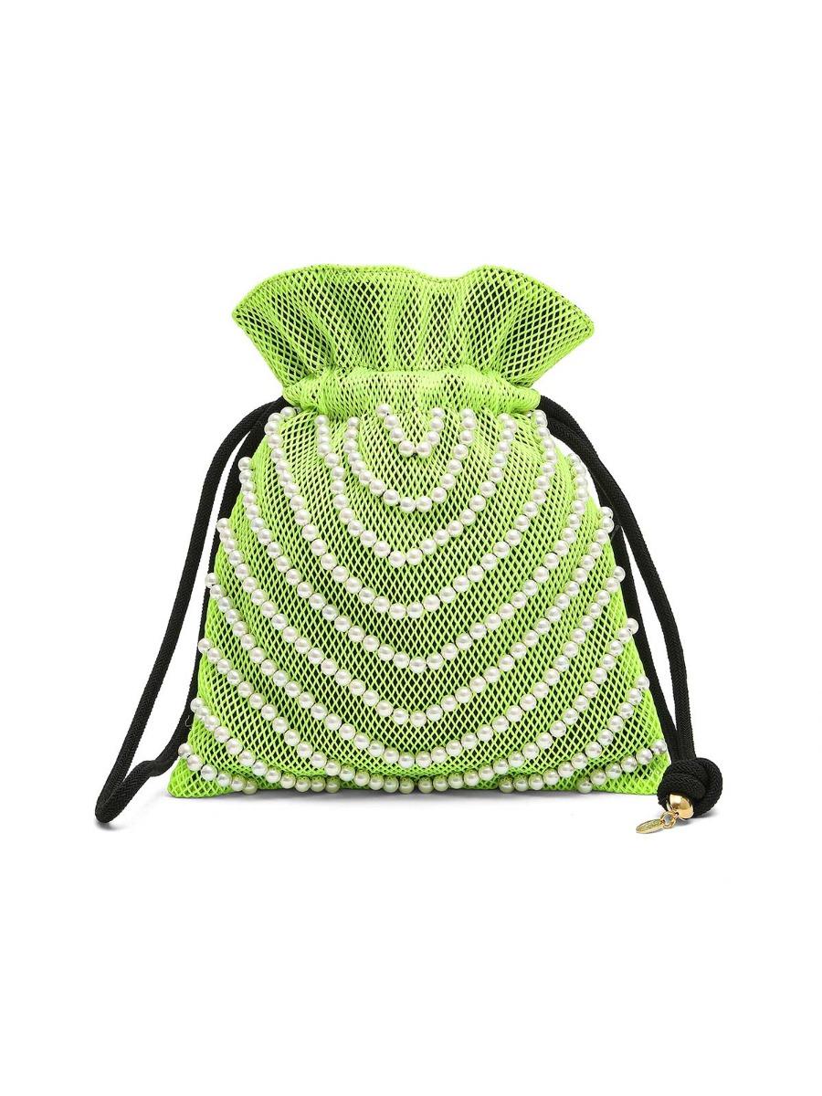 Borsa a secchiello in rete con perle