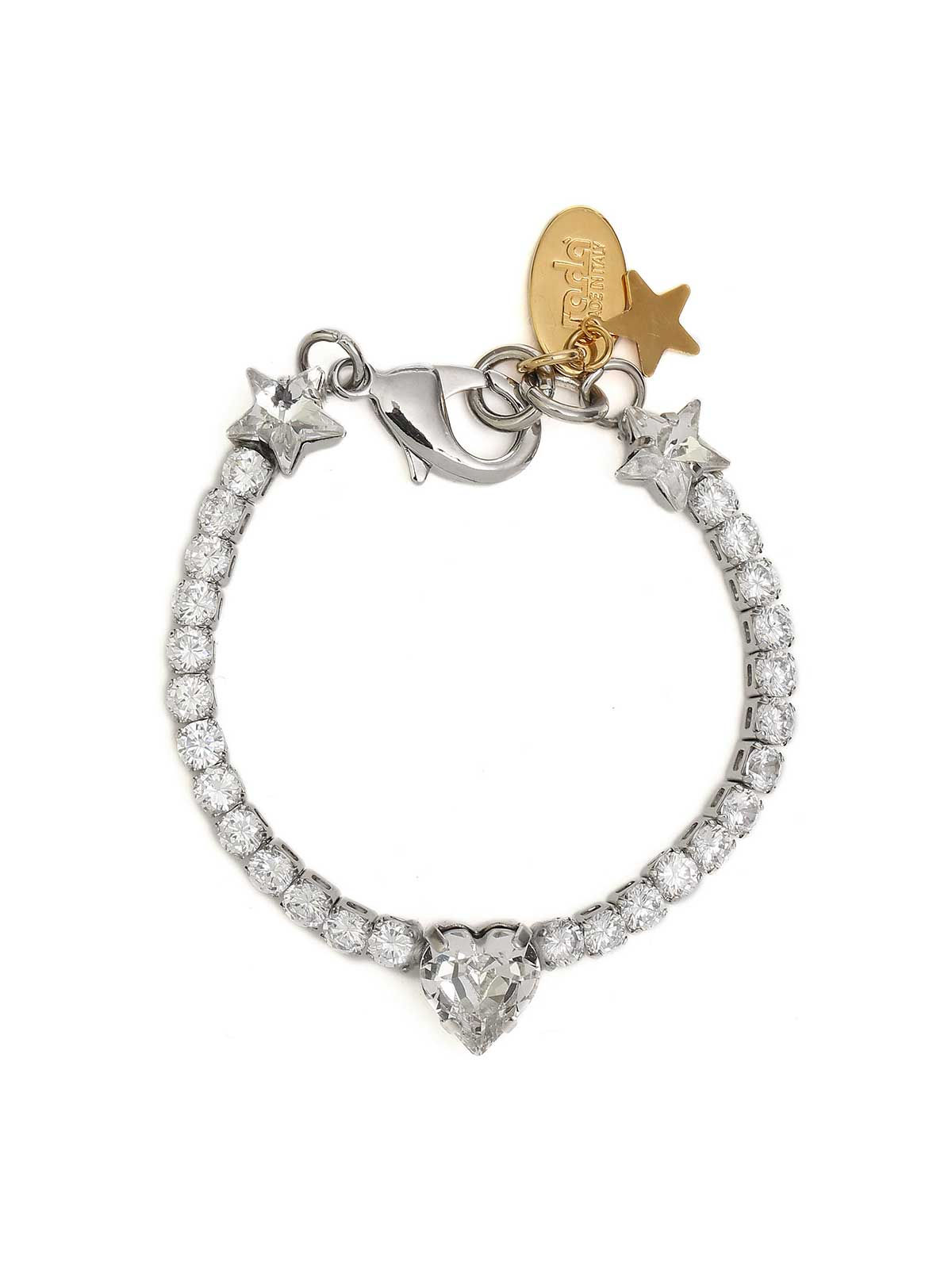 Brass bracelet with crystals and heart charm