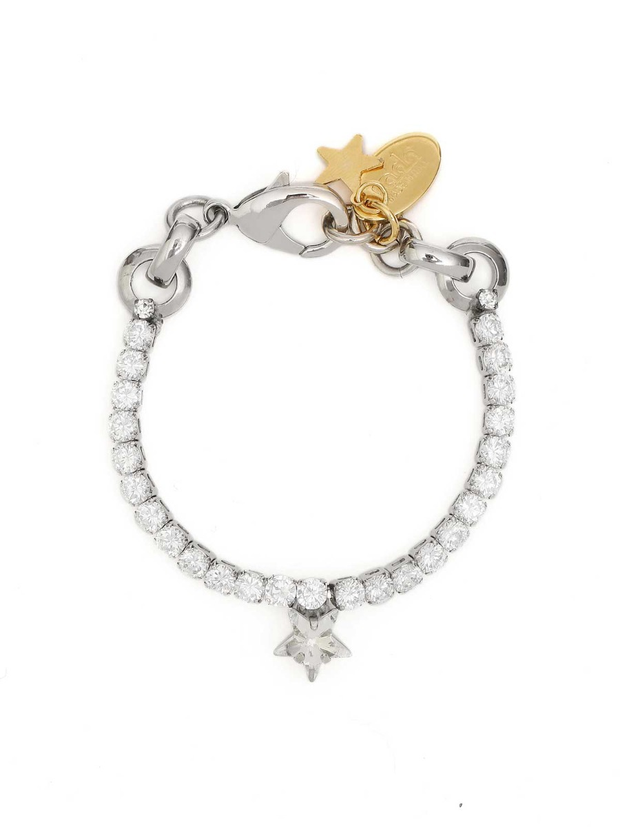 Brass bracelet with crystals and star charm