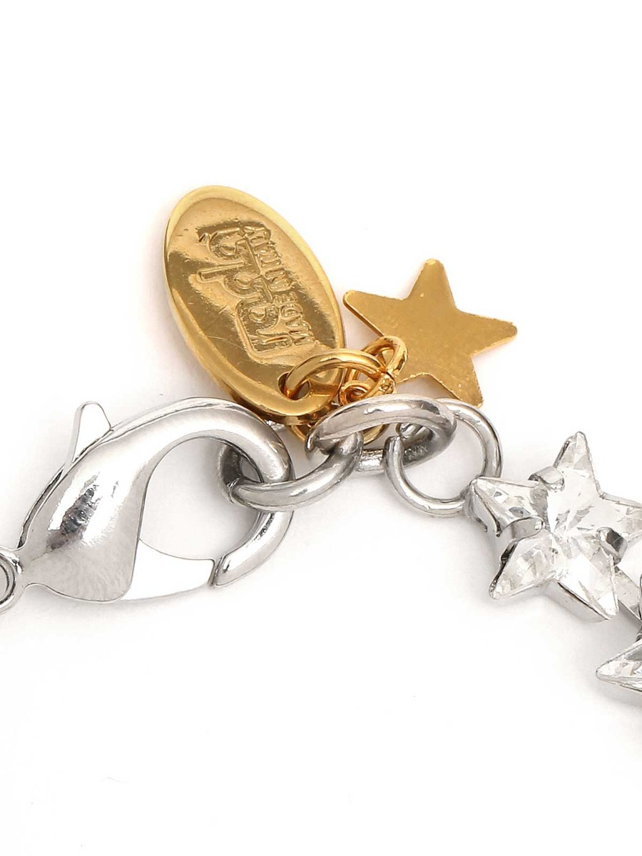 Brass bracelet with crystals and stars