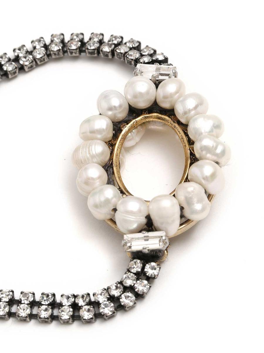 Bracciale di strass e perle d'acqua dolce