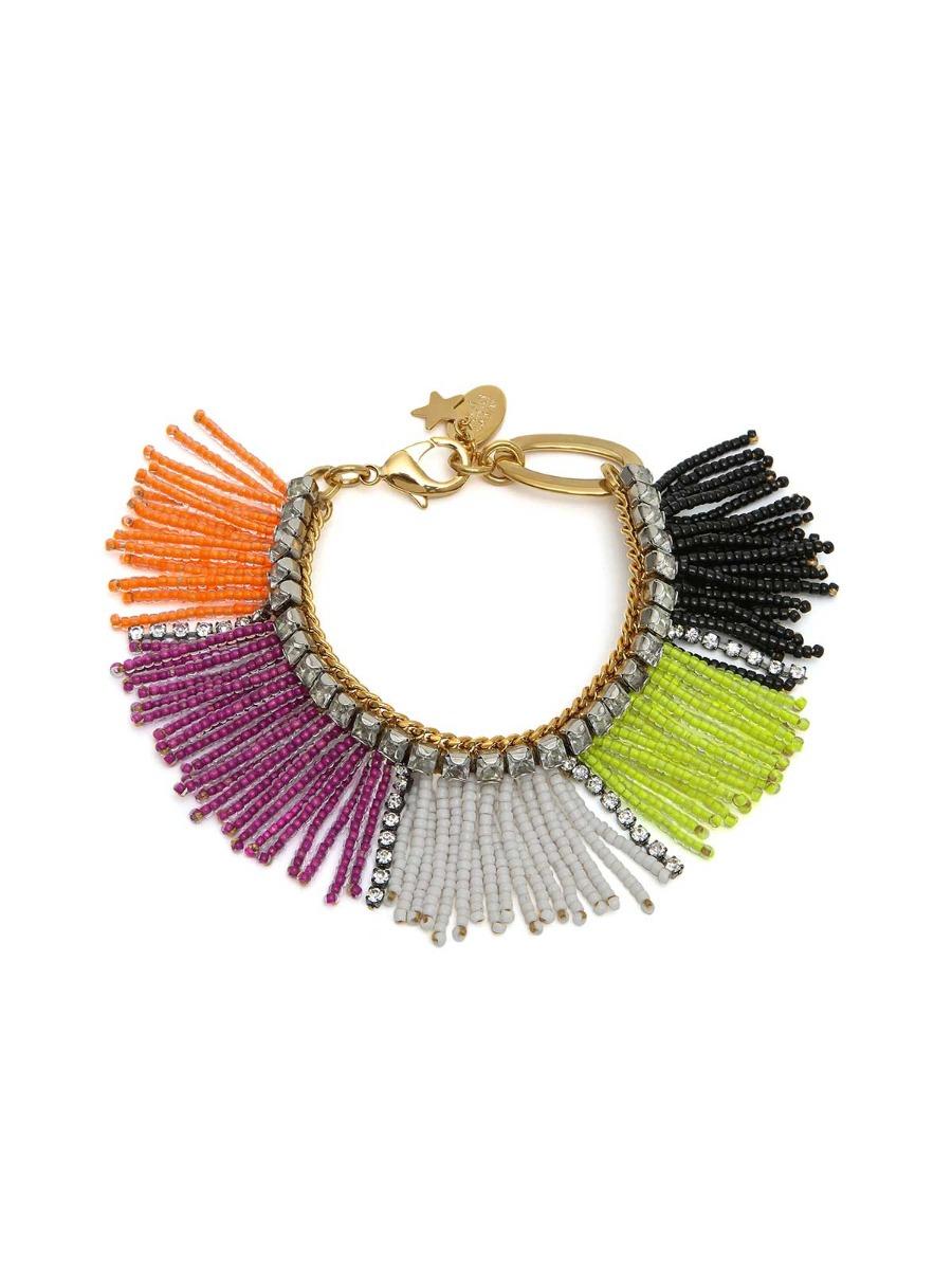 Fringe bracelet wirh multicolor beads