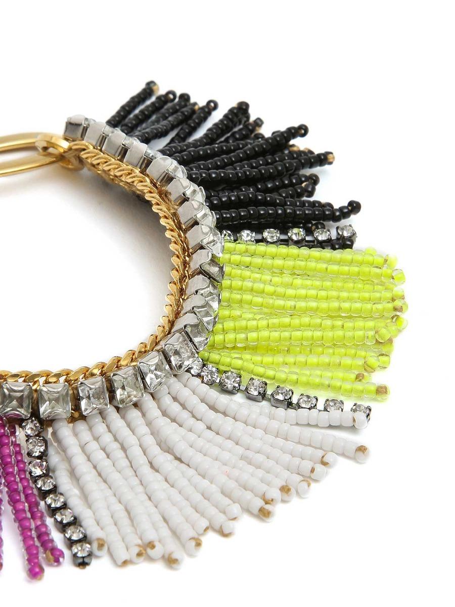 Bracciale frangia di perline multicolor e cristalli