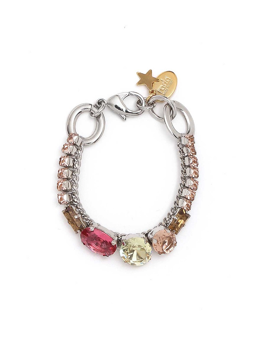 Rhinestone and multicolor stones bracelet