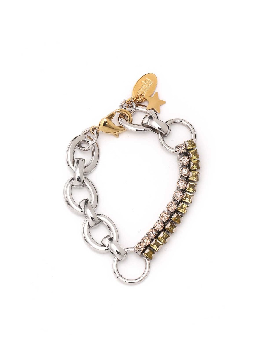 Mixed chains and rhinestones bracelet