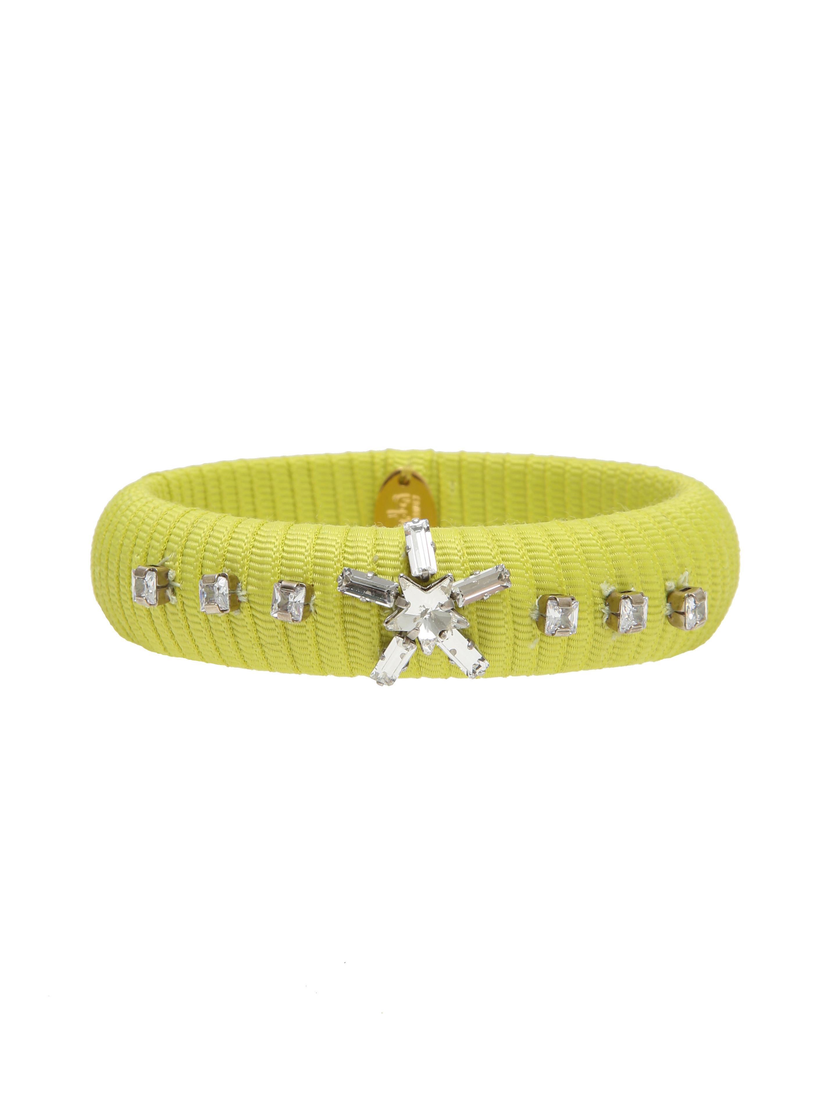 Ribbon bangle with crystals and star