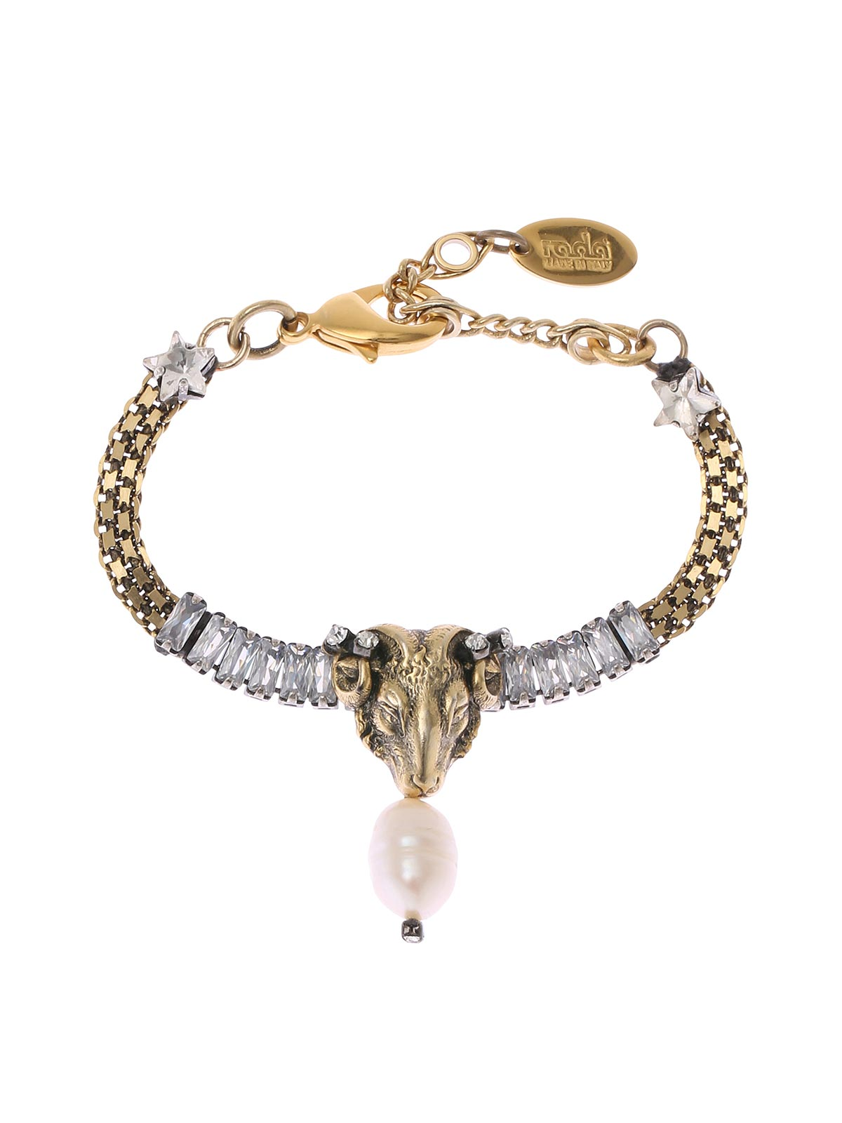 Brass chain bracelet with aries and crystals