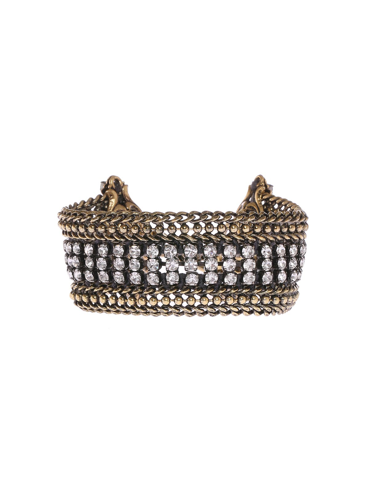 Brass chain bracelet with crystals