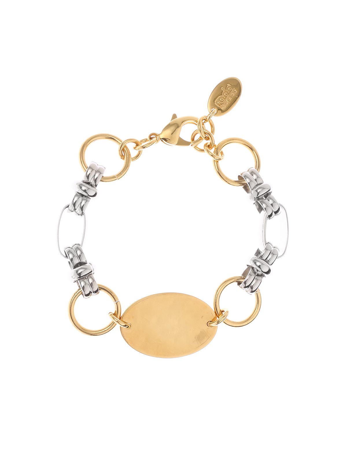 Two-tone brass chain bracelet
