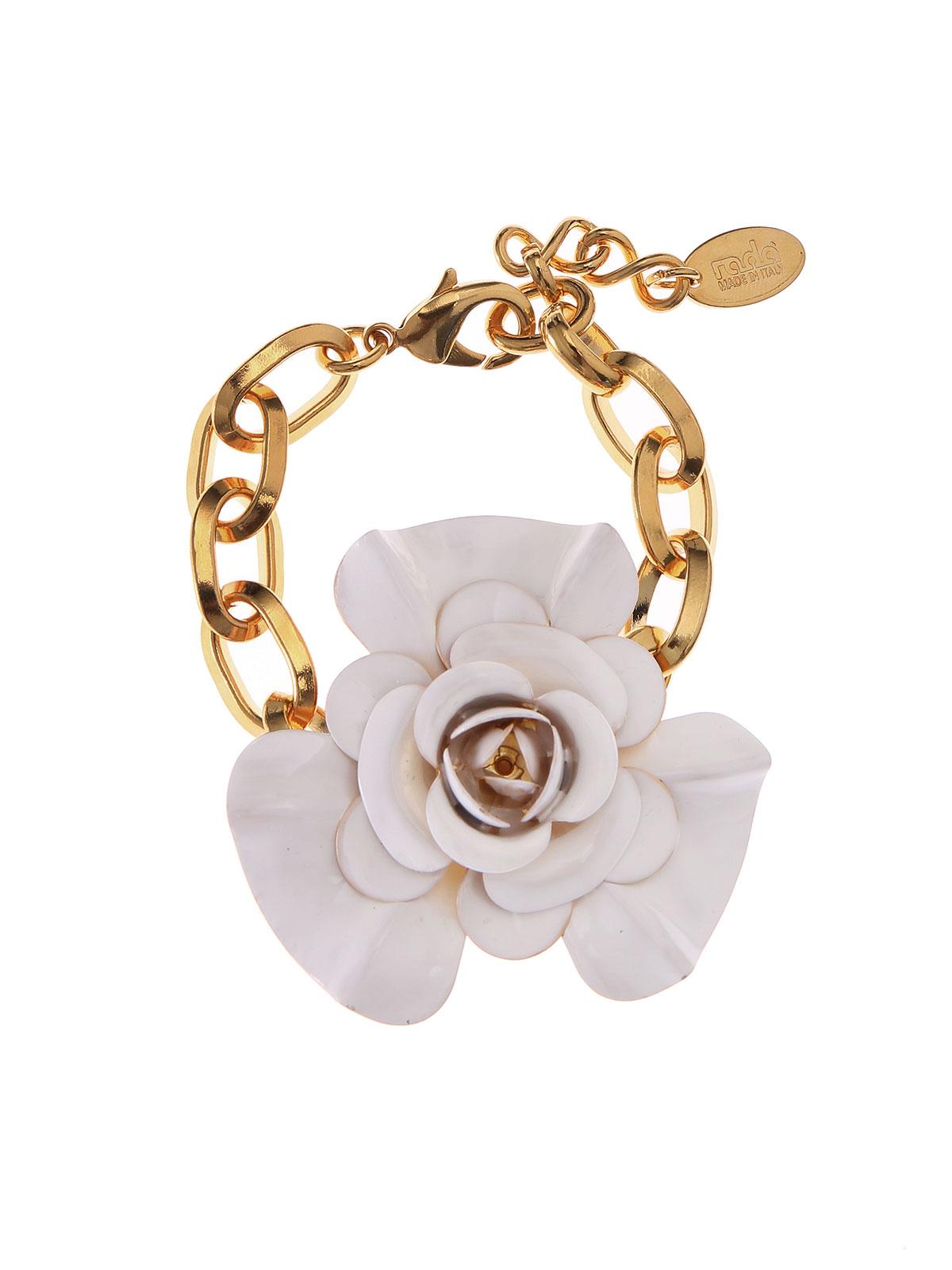 Bracelet with enamelled flower