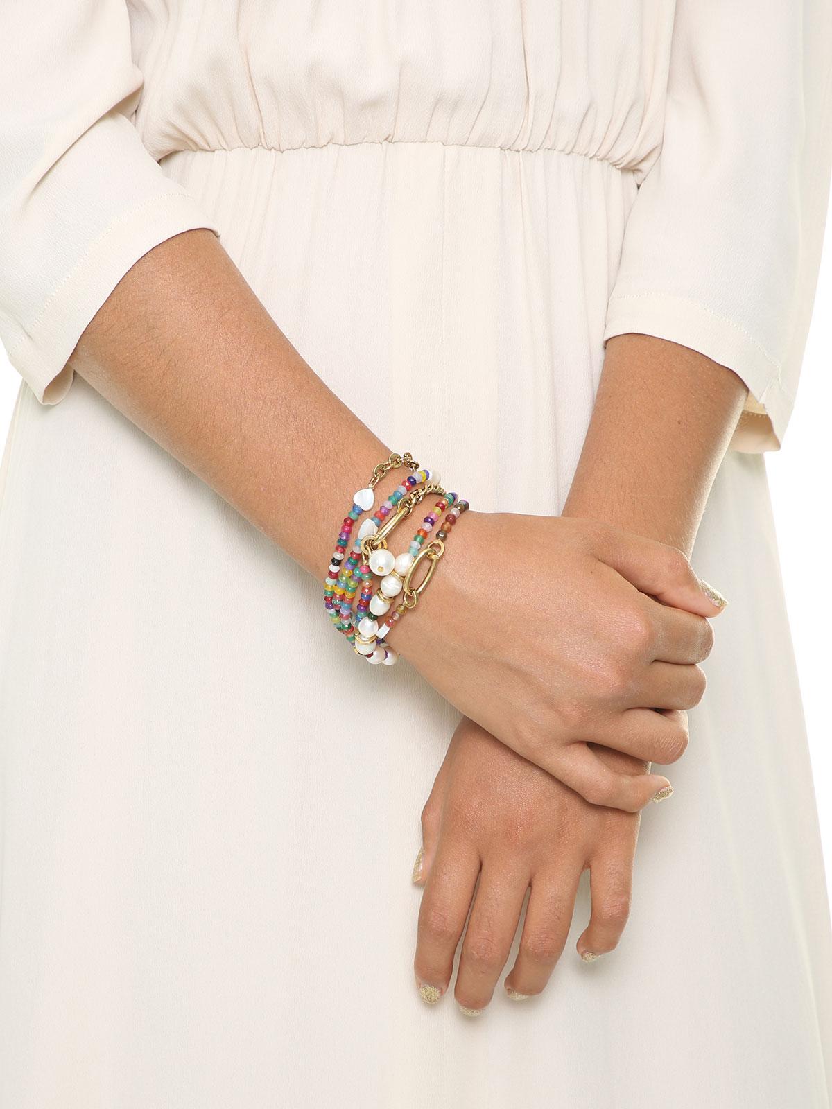 Set di 4 bracciali di perline di giada