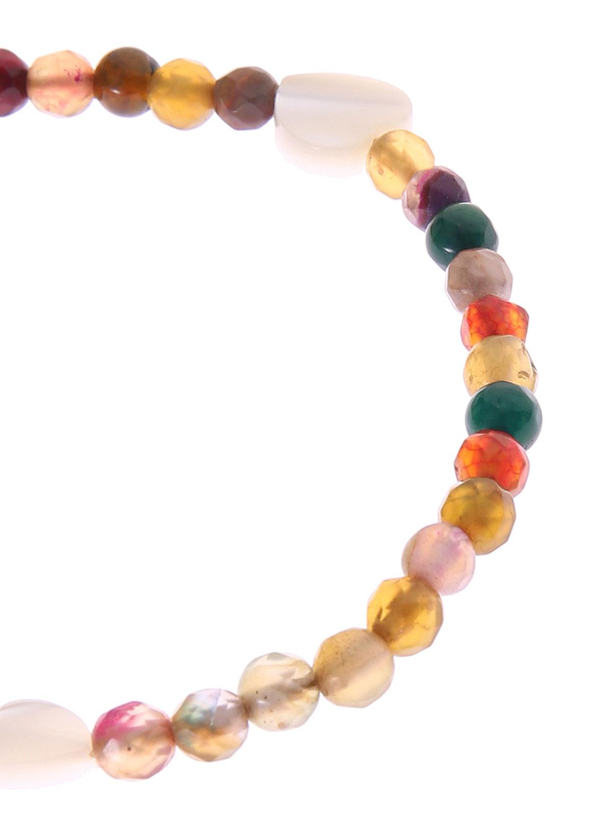 Bracciale di perline di giada e cuori madreperla