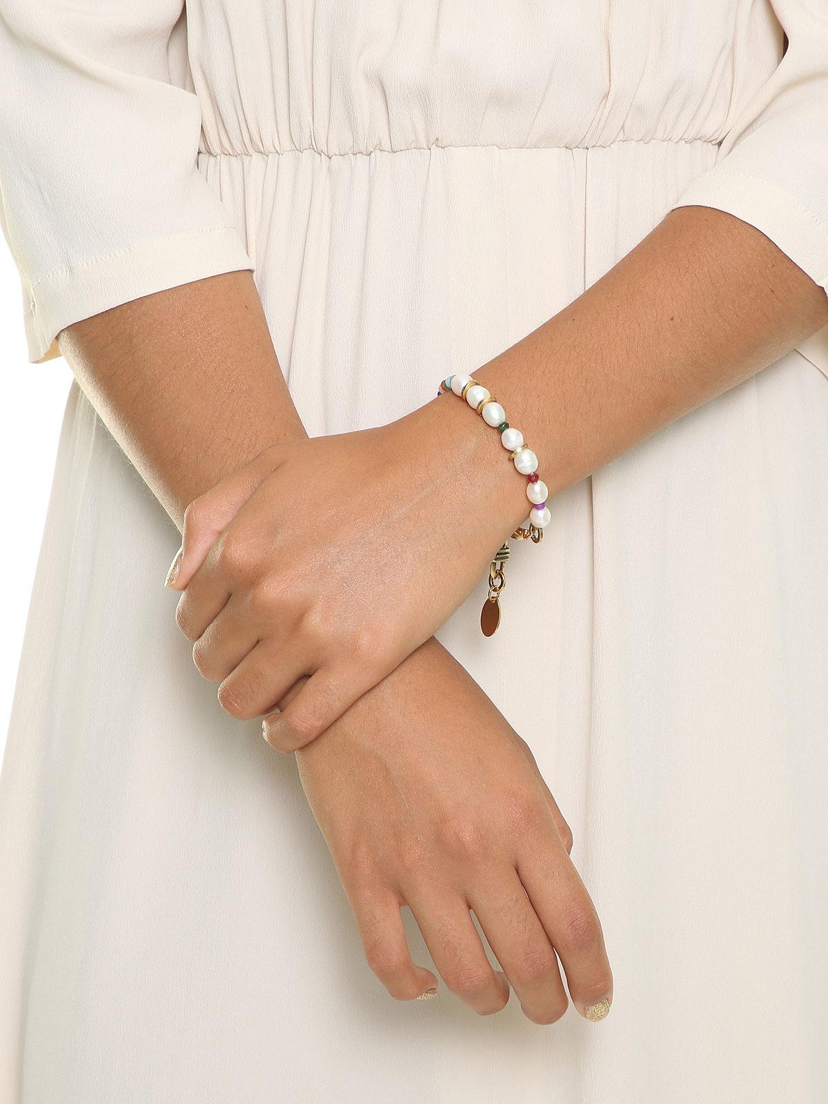 Bracciale di perline di giada e perle di fiume