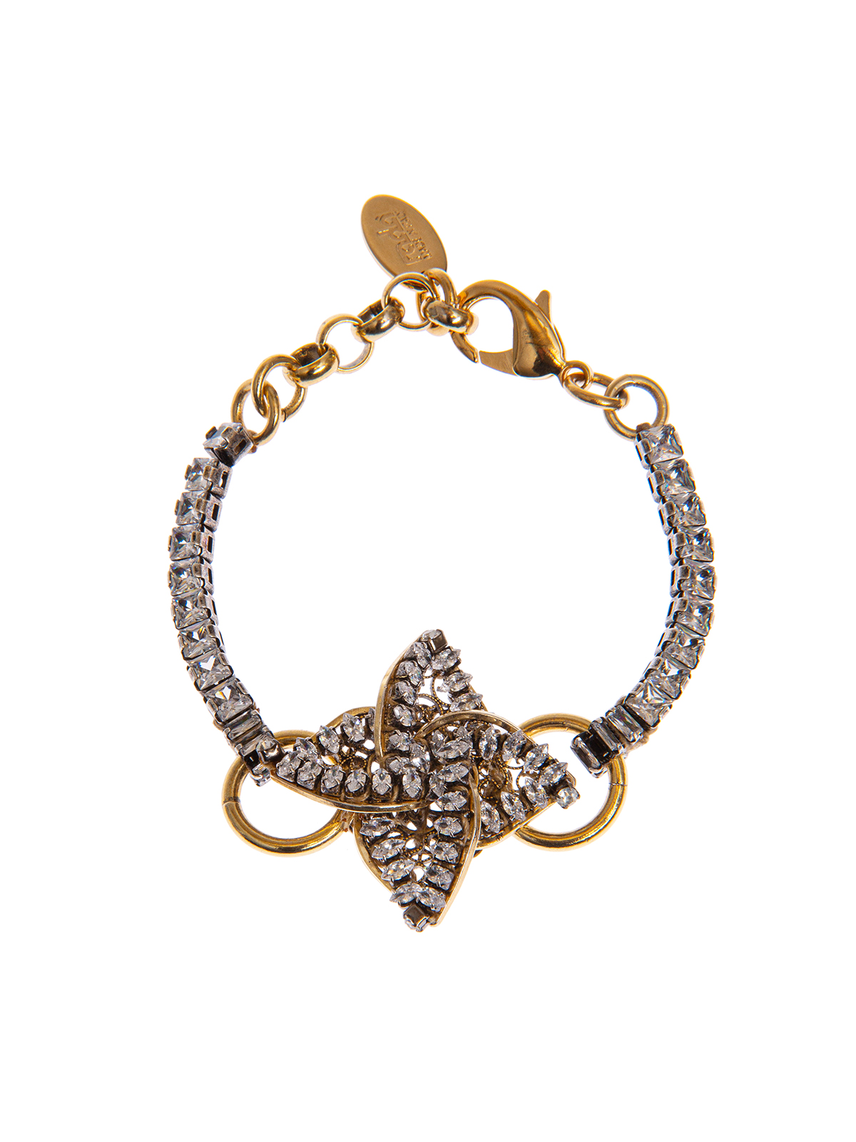 Crystal bracelet with  jewel helix-shaped decoration embroidered with stones
