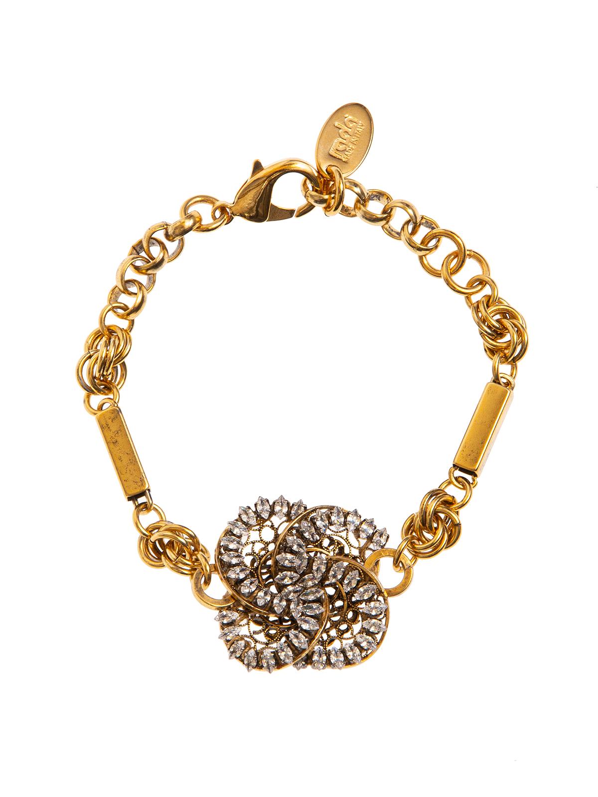 Chain bracelet with  jewel pinwheel decoration