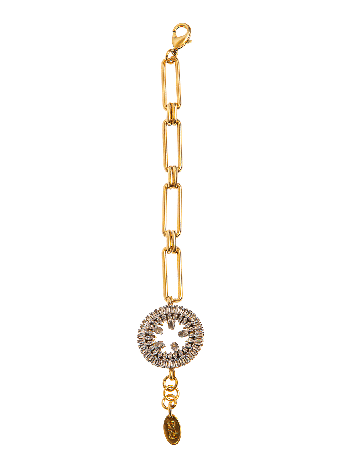 Chain bracelet with  crystal round decoration