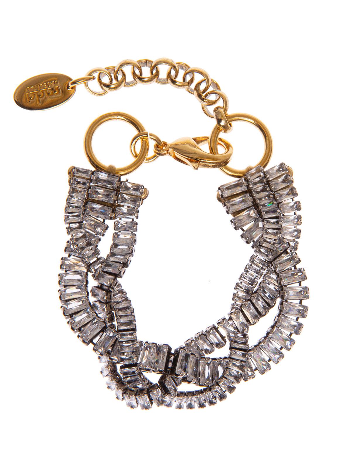 Bracciale con intreccio di baguettes cristallo e catena oro antico