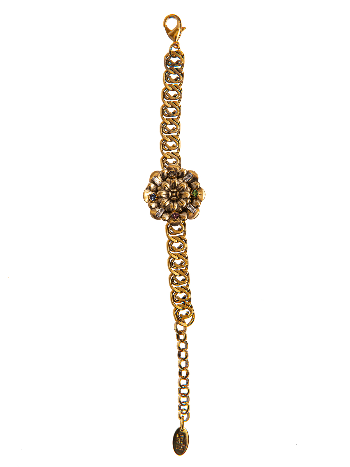 Chain bracelet with central flower embellished with multicolor stones