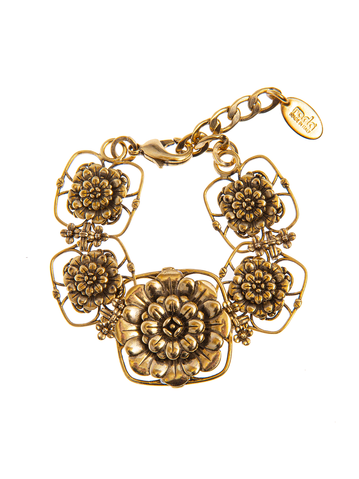 Chain bracelet with metal flowers