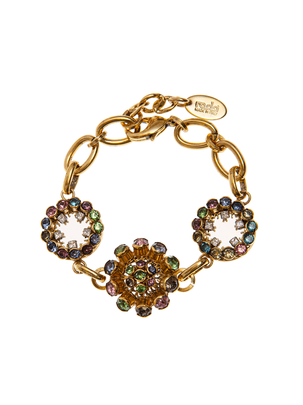 Chain bracelet embellished with filigrees and multicolor stones