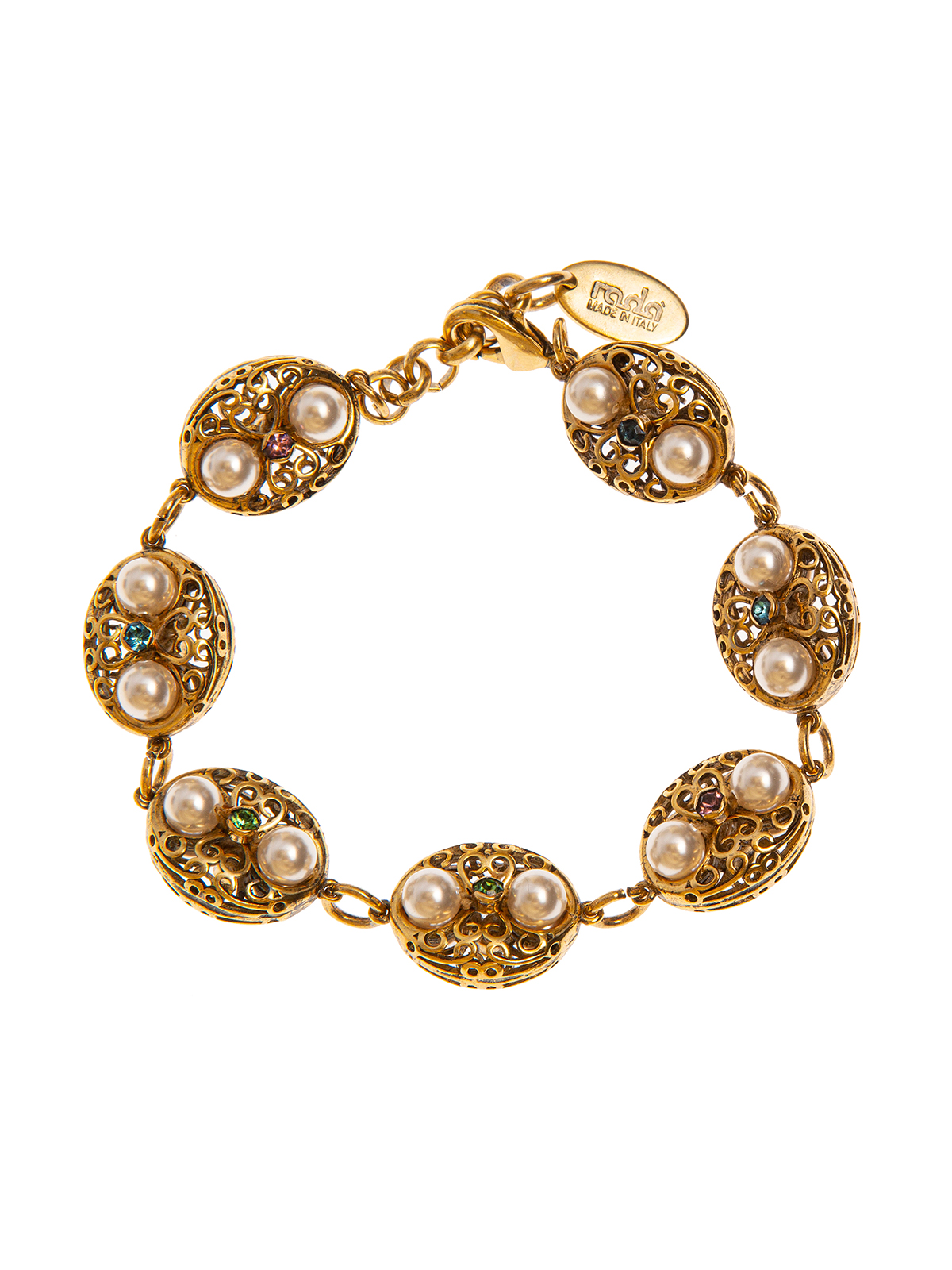 Filigree bracelet embellished with beads and multicolor stones
