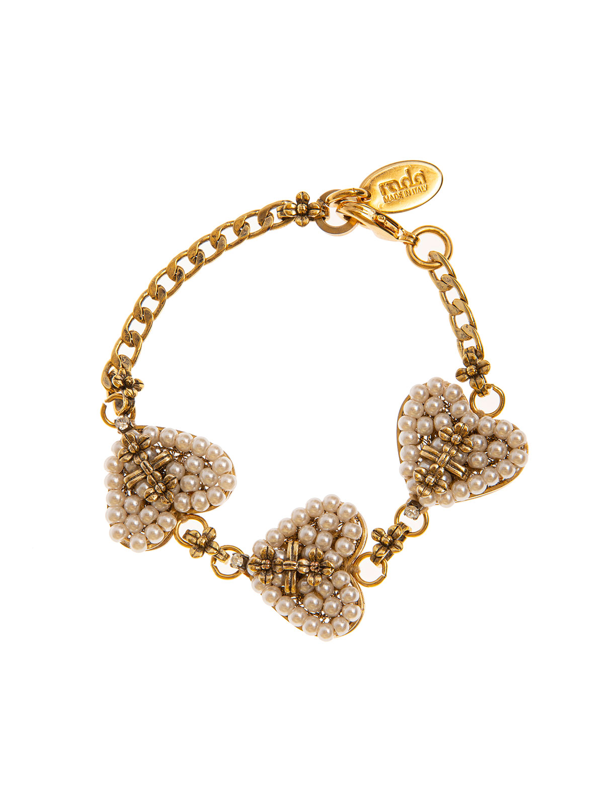 Chain bracelet embellished with beaded hearts