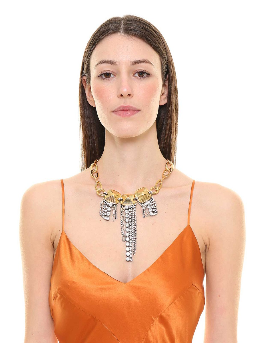 Mixed chain necklace with  crystals fringes
