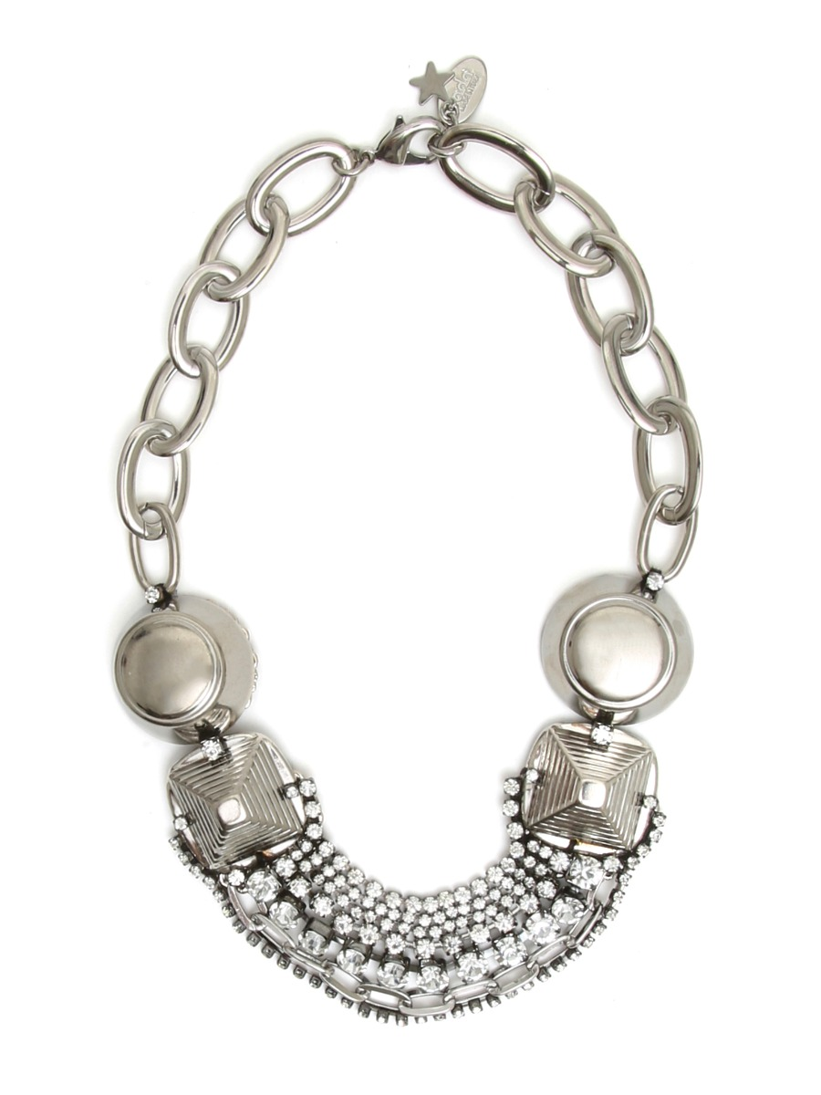 Mixed chain necklace with  crystals