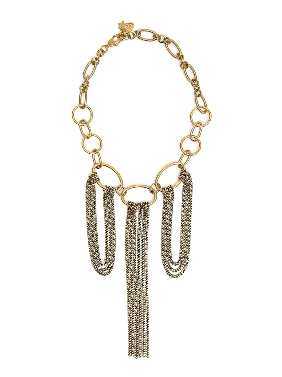 Brass necklace  with cascade chain