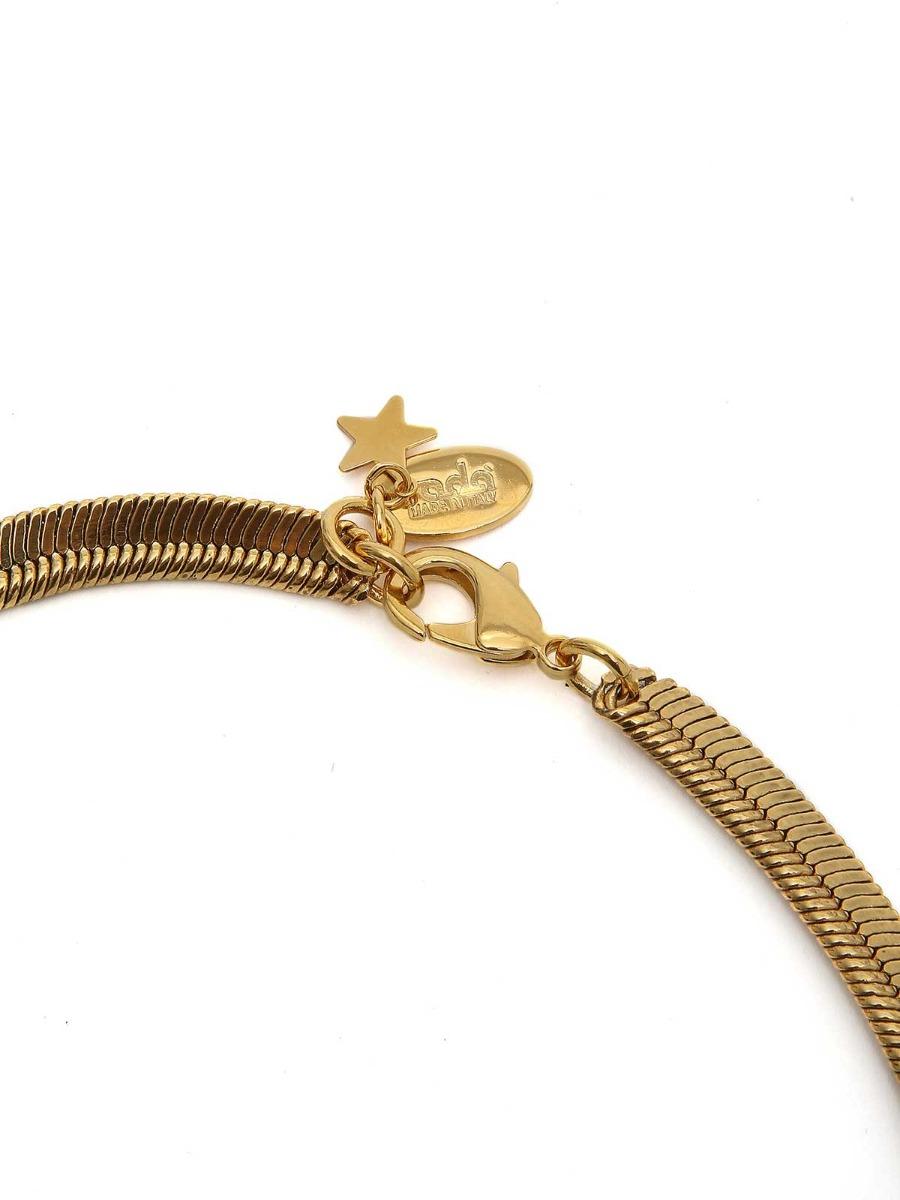 Collana girocollo in ottone con frangia di catena a cascata