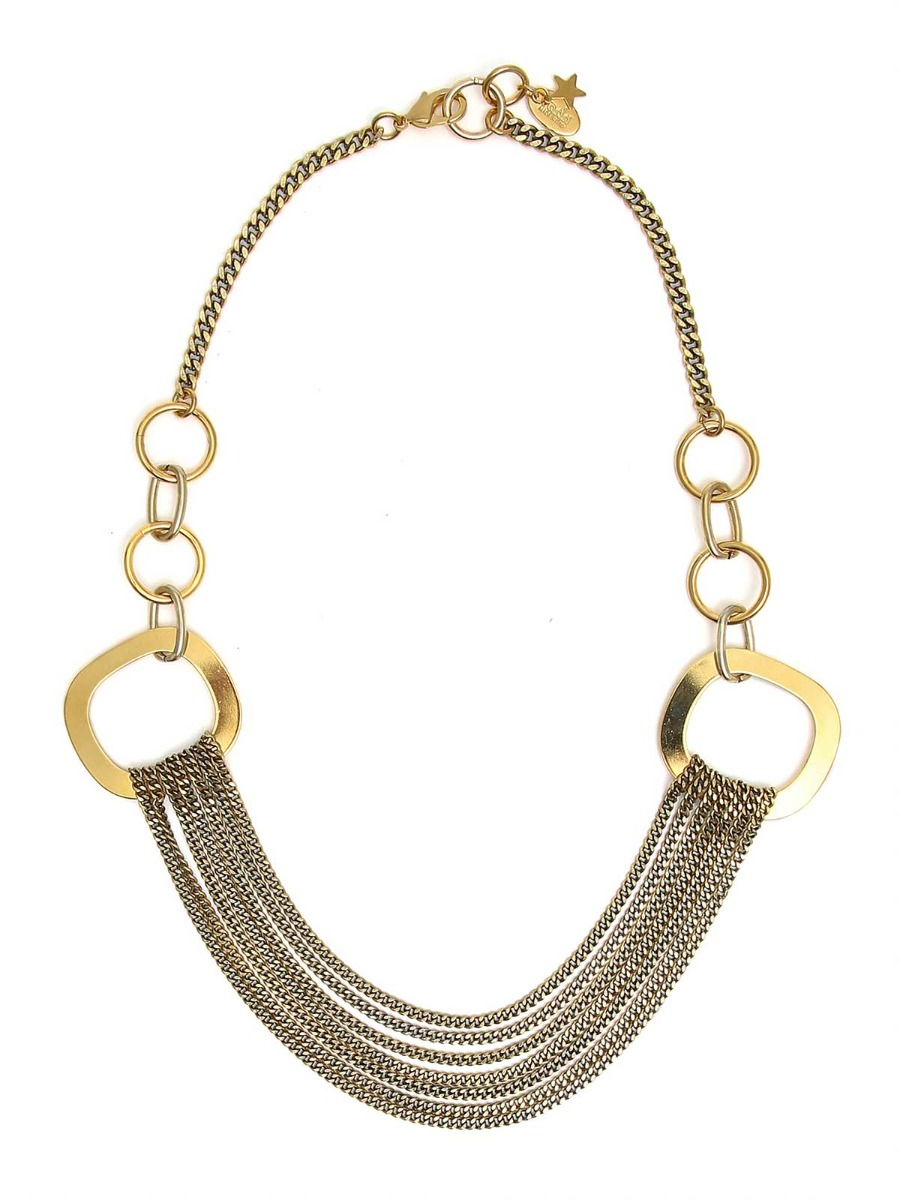 Brass mixed chain necklace