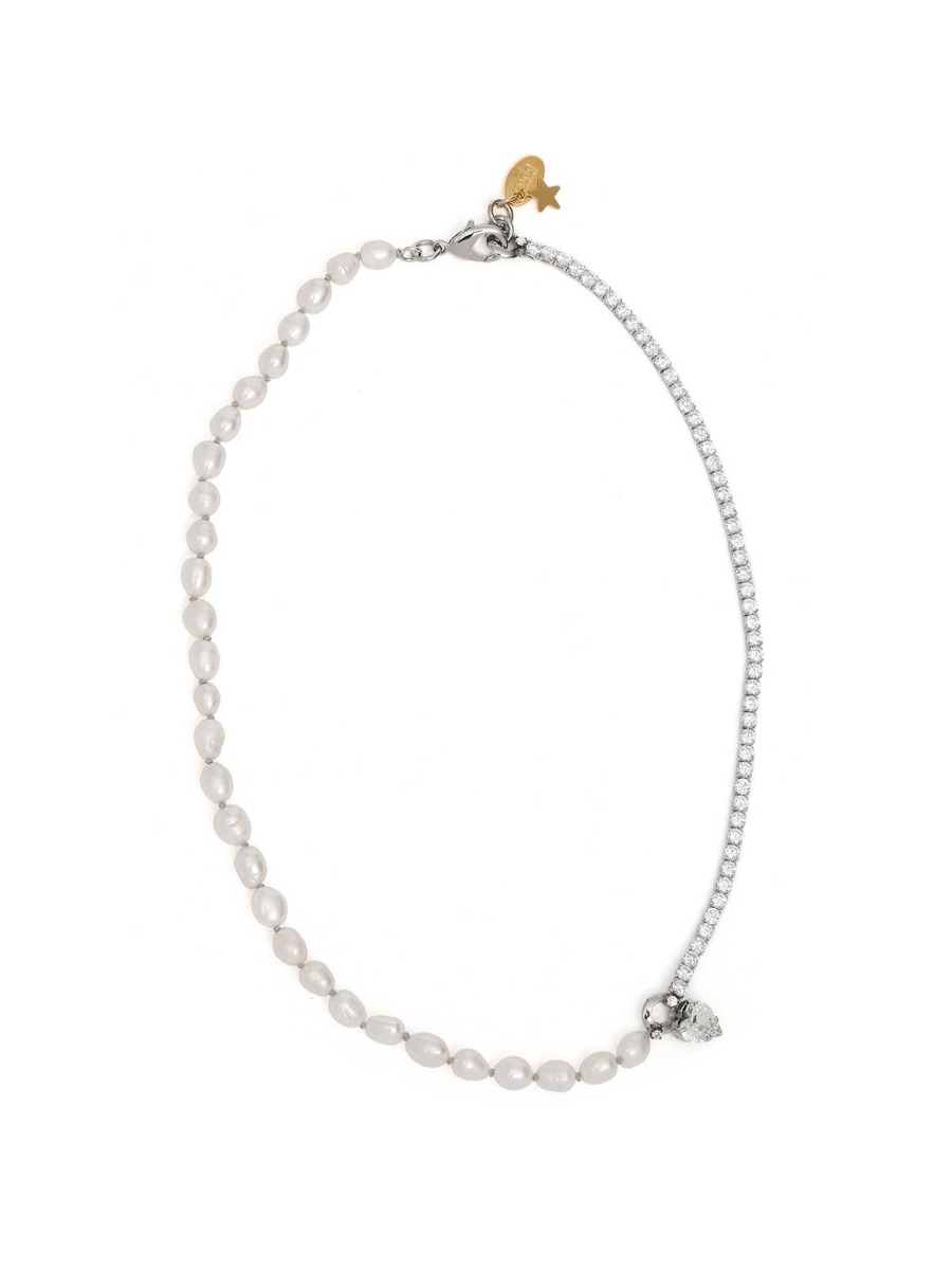 Crystal rhinestones necklace with freshwater pearls