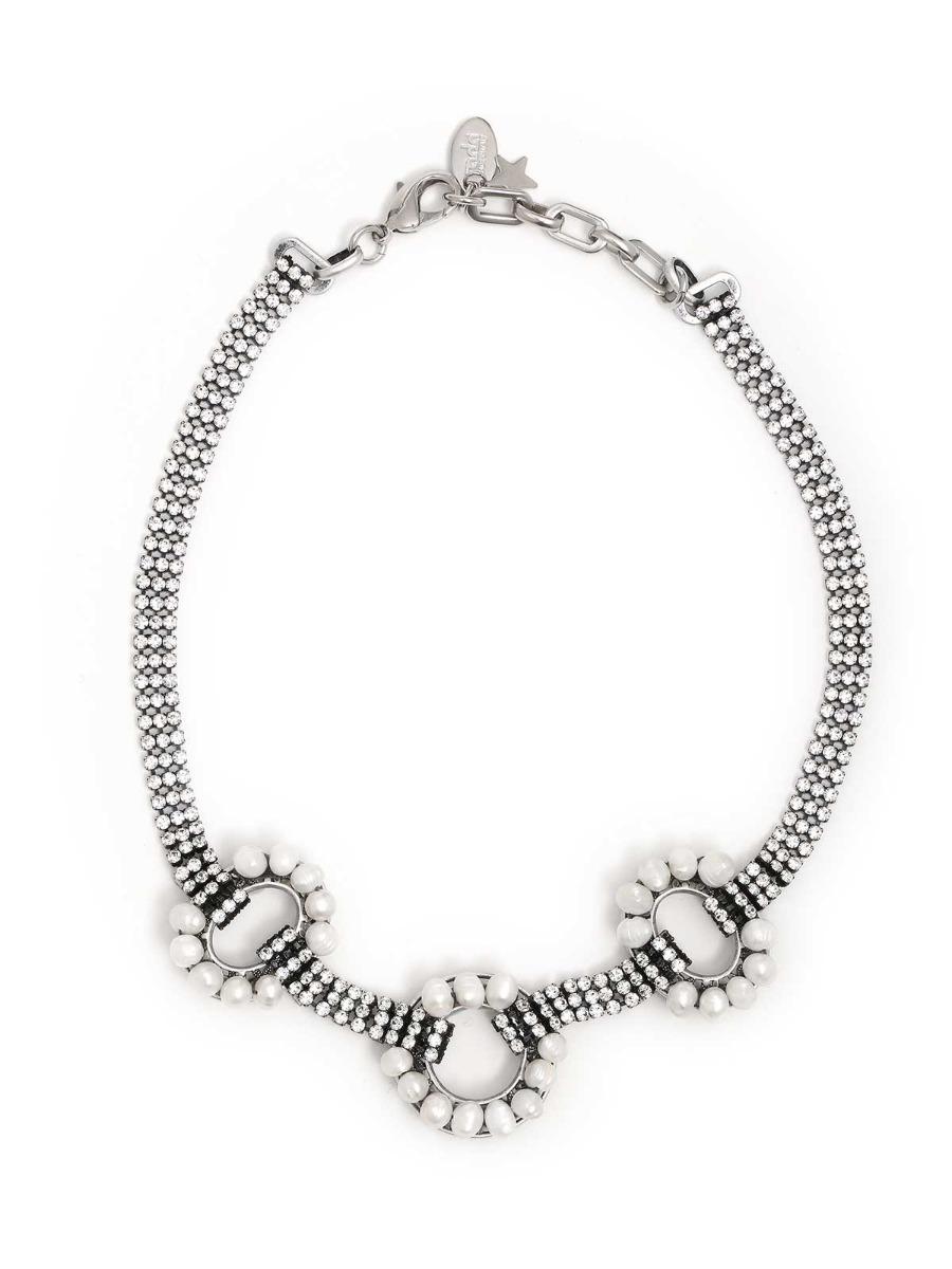 Collana di strass e perle d'acqua dolce