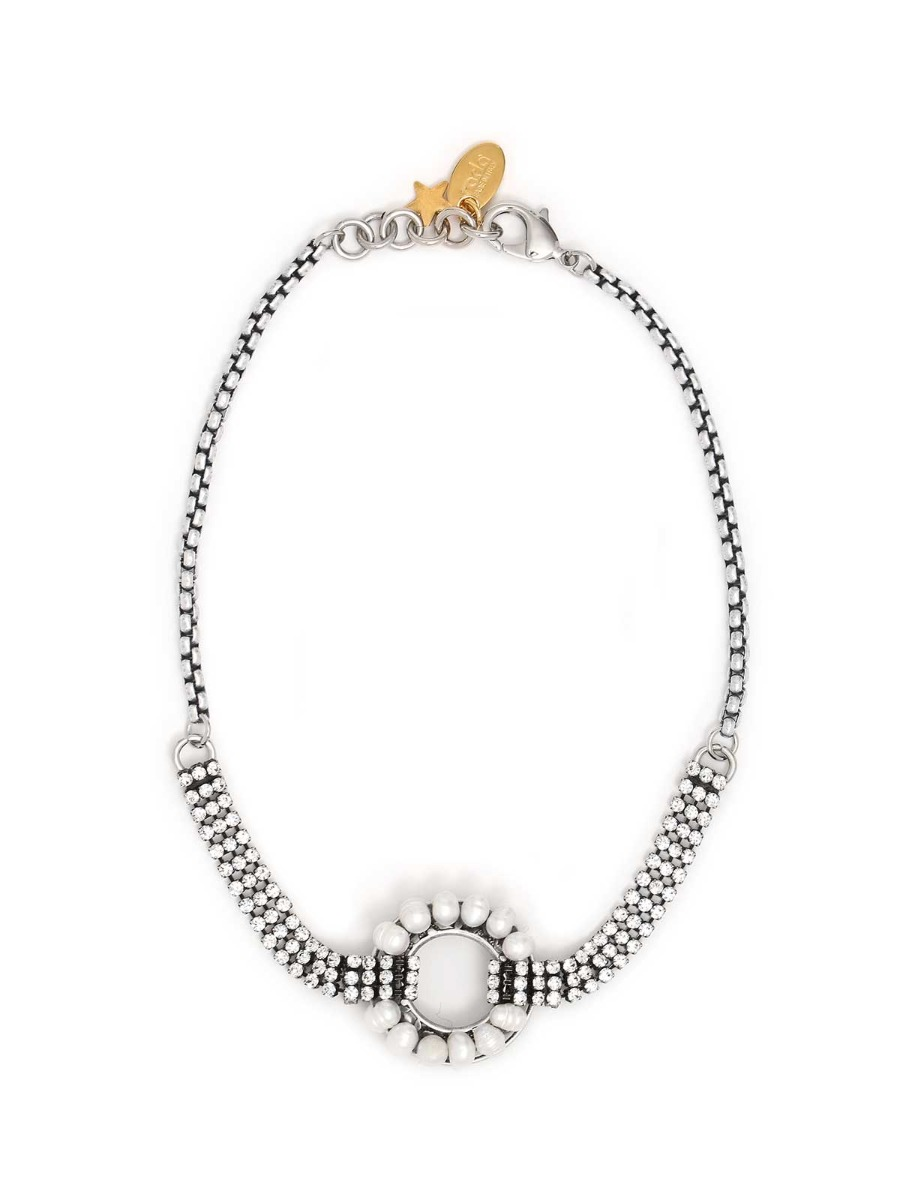 Crystal rhinestone necklace with freshwater pearls