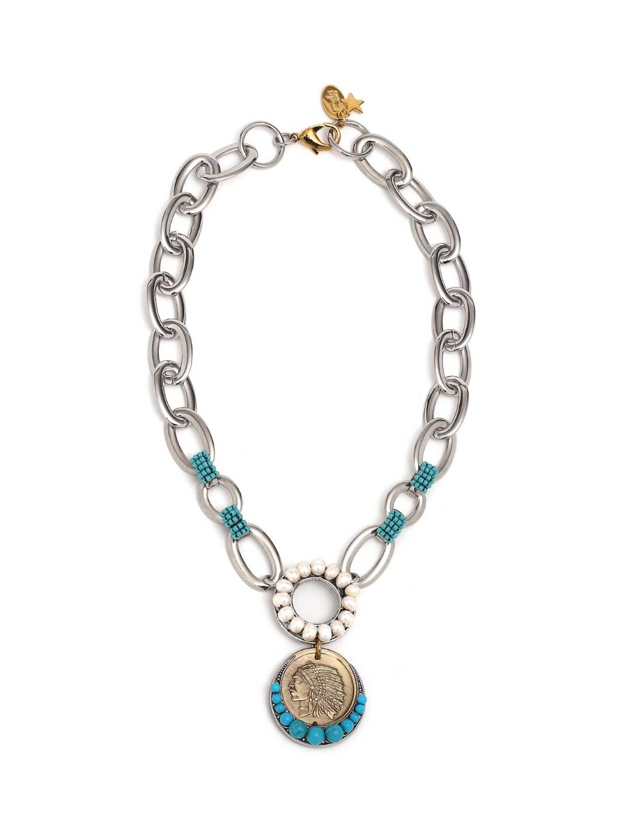 Brass chain necklace with freshwater pearls and medal charm