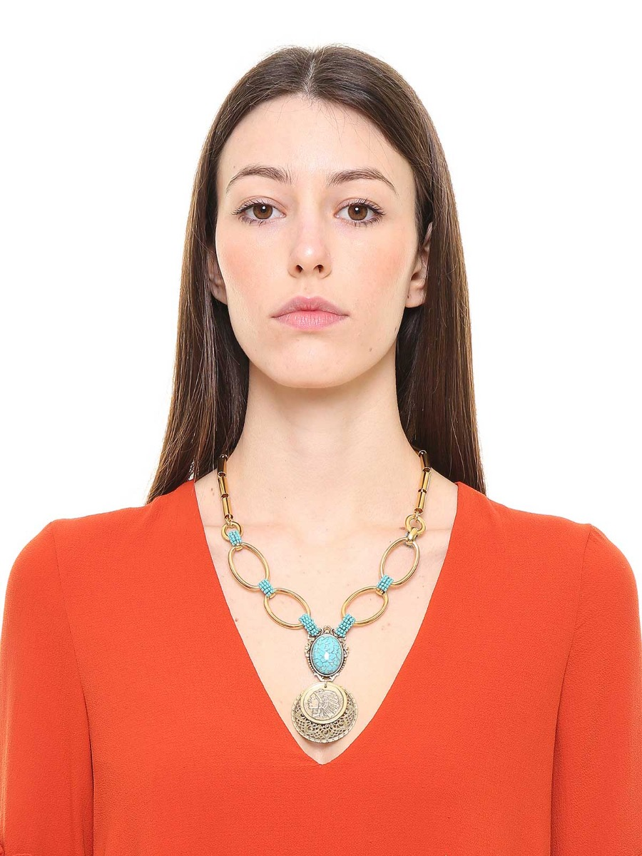 Mixed chain necklace with medal pendant and oval stone