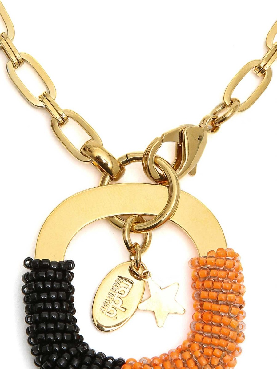 Collana lunga  con pendente rivestito di perline multicolor