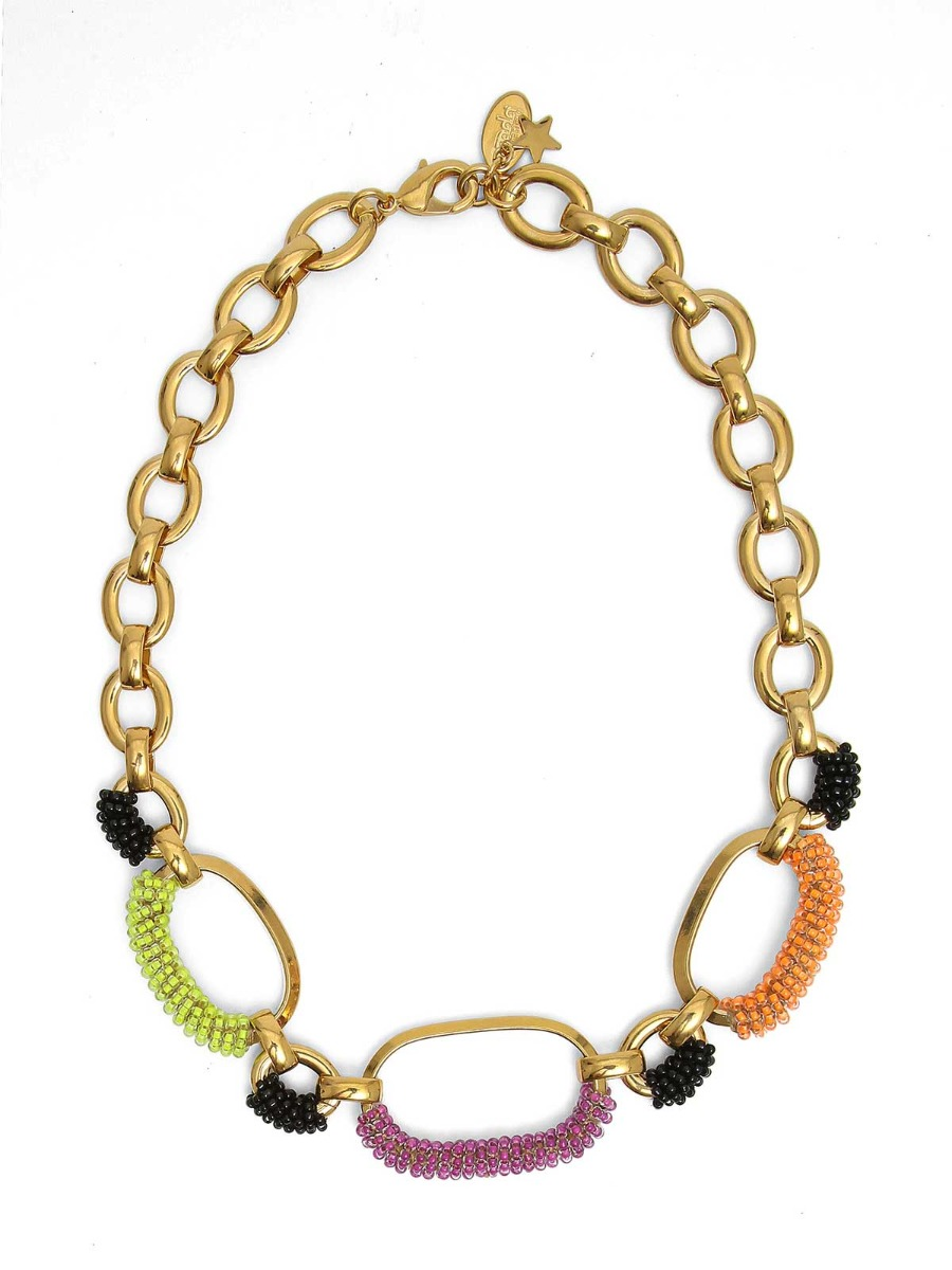 Collana mix di catene in ottone e perline multicolor