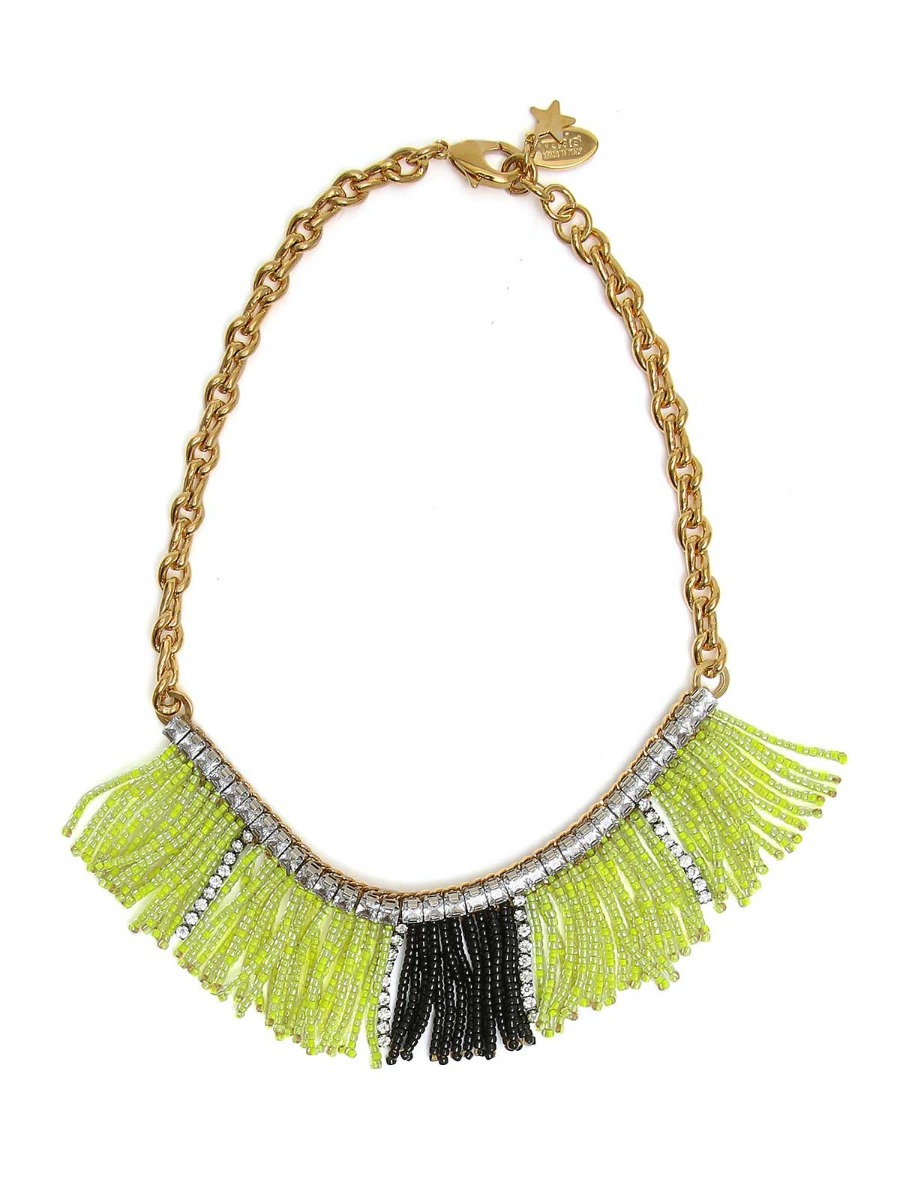 Mixed chain necklace with beads fringes