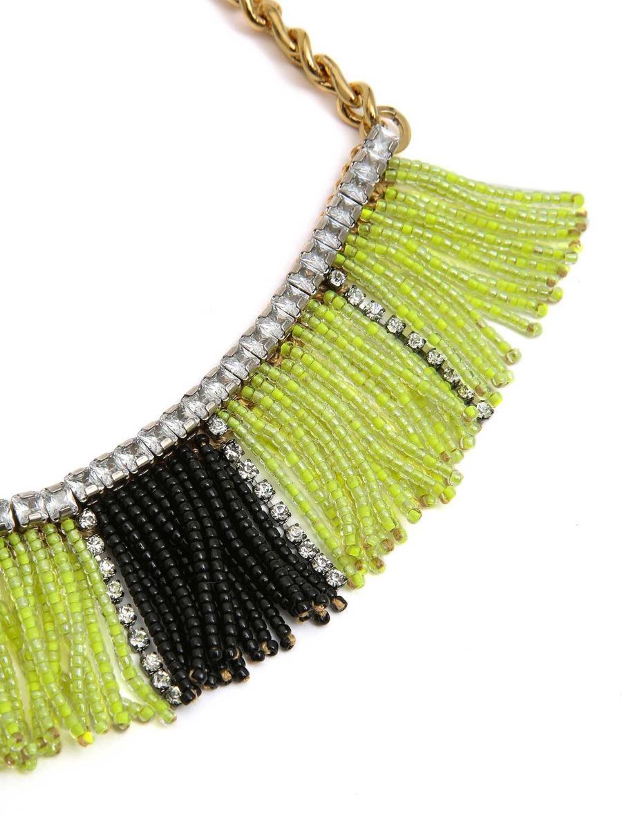 Collana mix di catene in ottone e frangia  di perline.