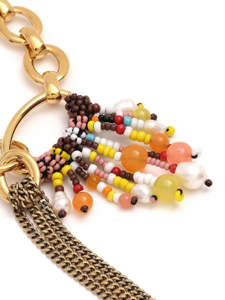 Collana mix di catene e perline multicolor