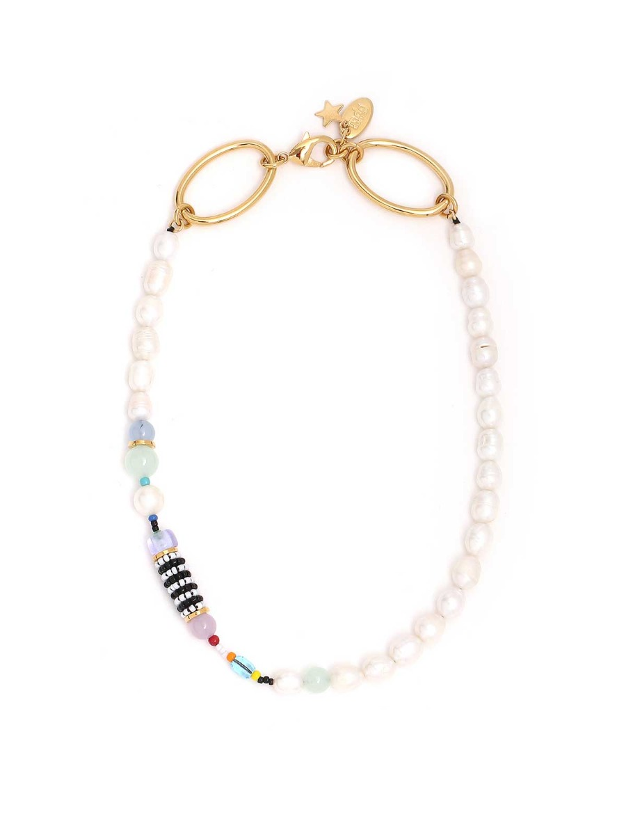 Freshwater pearls necklace with multicolor beads
