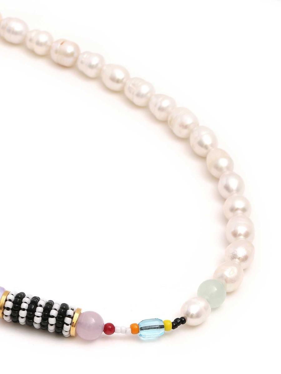 Collana di perle d'acqua dolce  e perline multicolor
