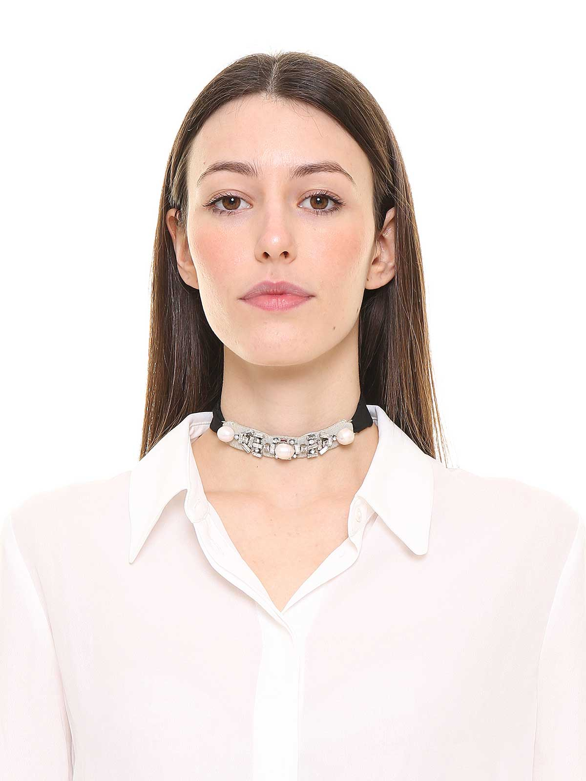 Crystals and pearl choker
