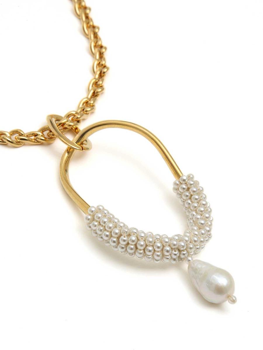 Collana mix di catene in ottone e perle