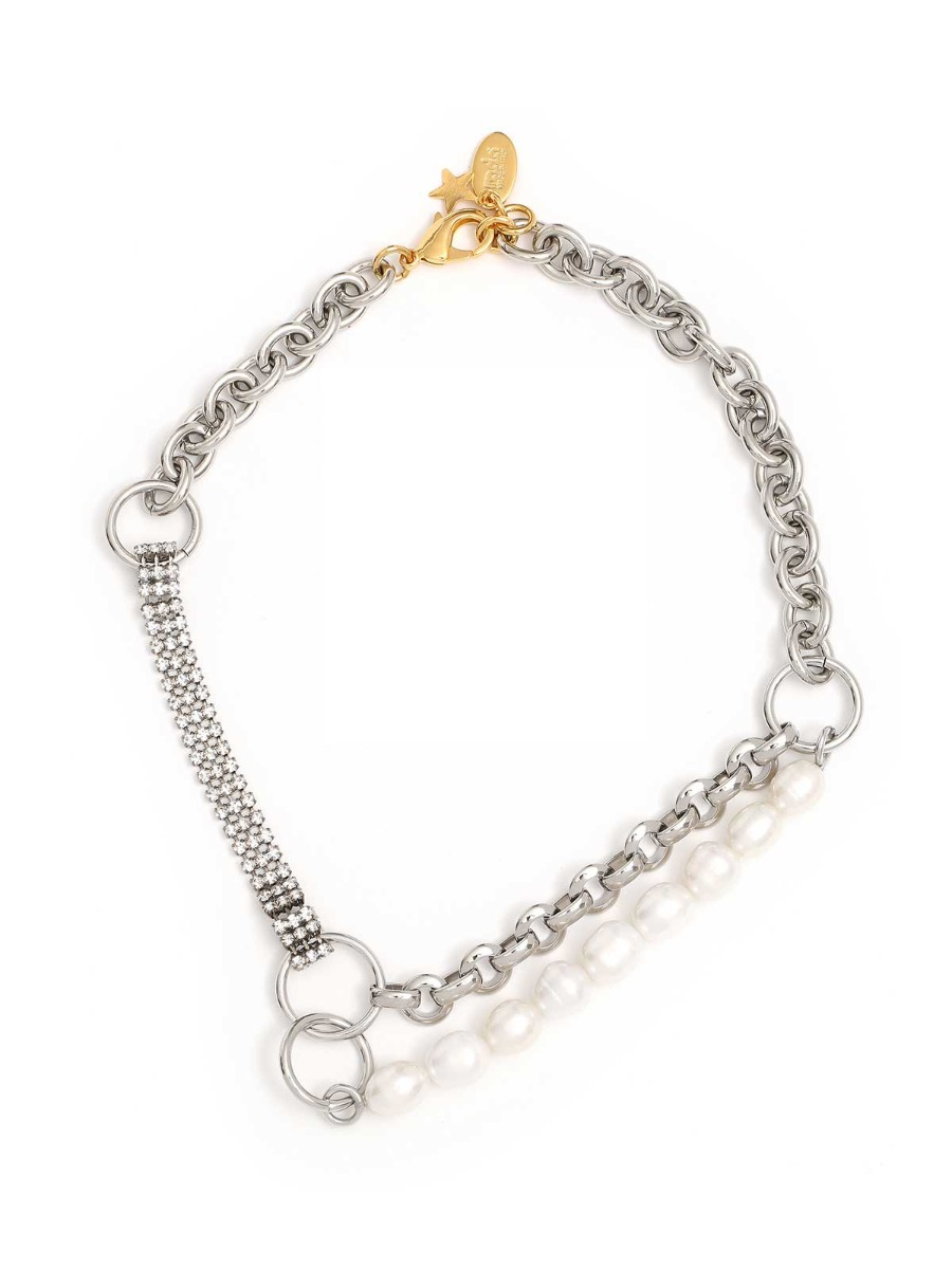 Mixed chain necklace and freshwater pearls