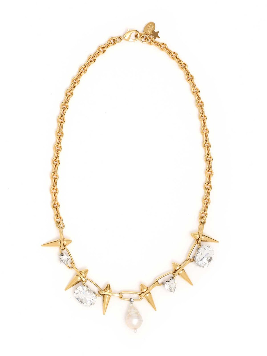 Mixed chain necklace with studs and crystals