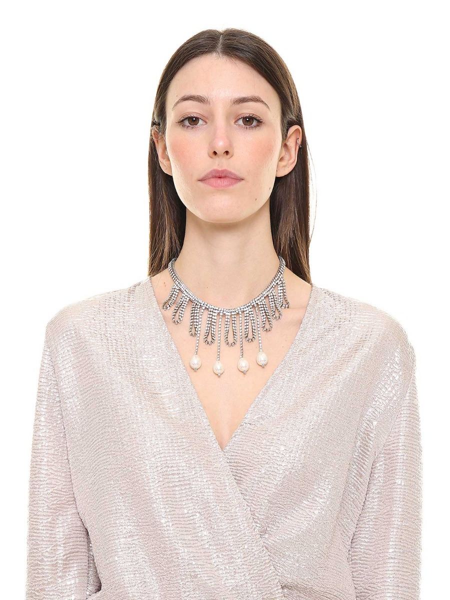 Rhinestone cascade necklace embellished with drop pearls