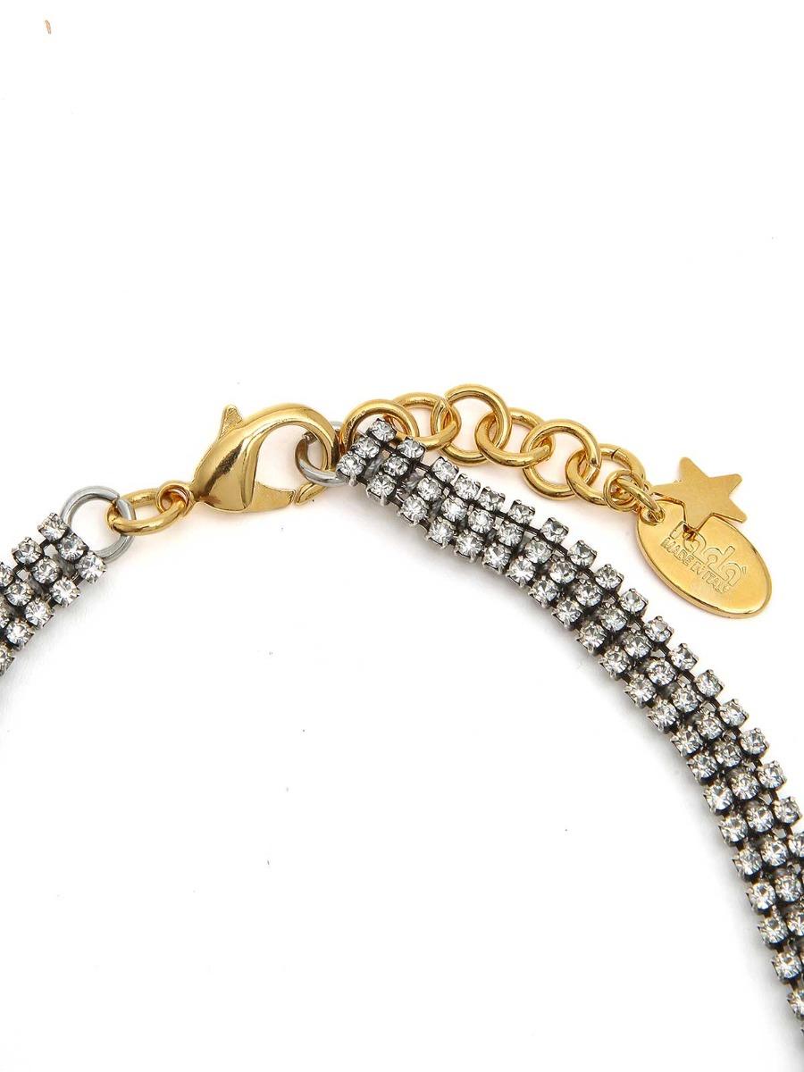 Collana girocollo di strass e perle a goccia