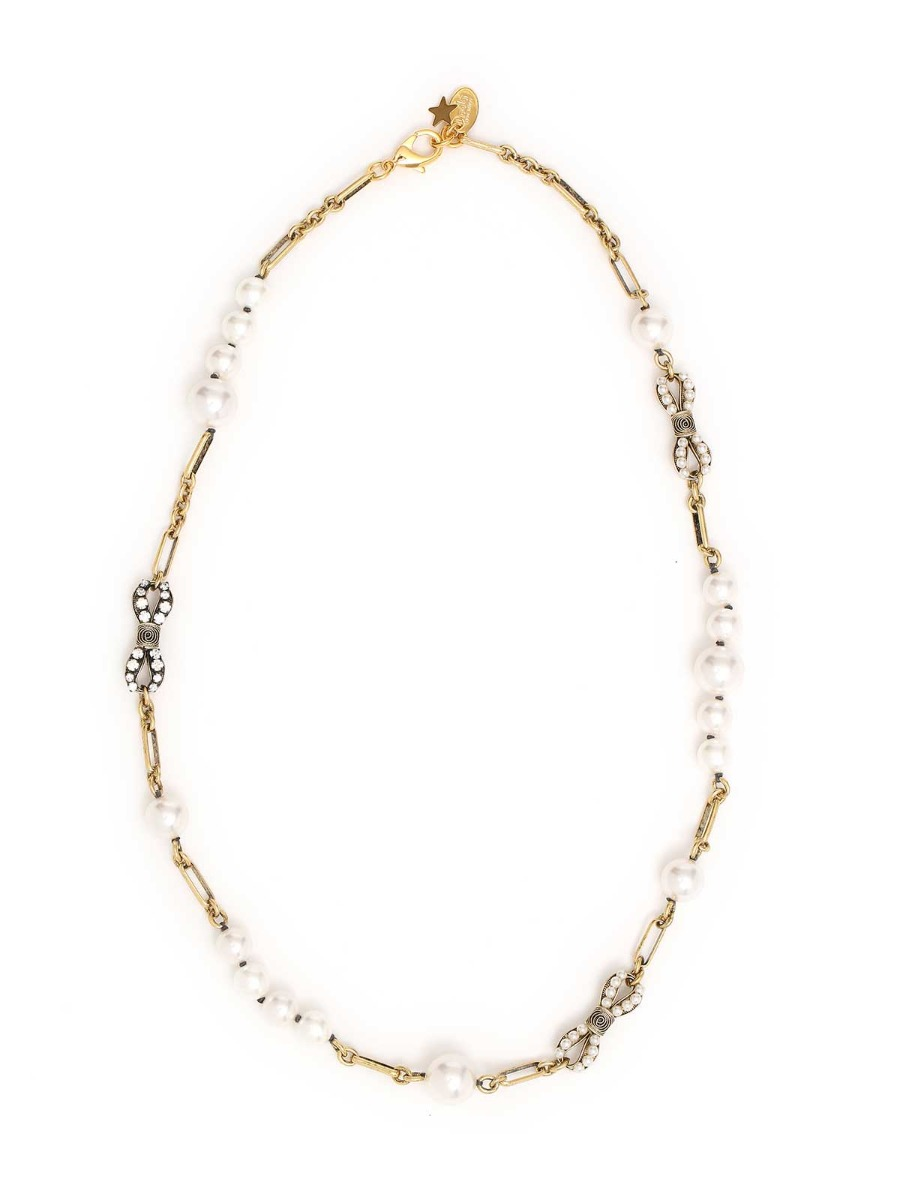 Bows necklace with glass perls